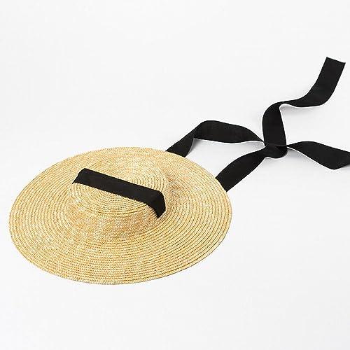 SLR Style Occidental Simple Sangle de Mode Plat Chapeau de Paille de Voyage crème Solaire Chapeau de Paille Ombre de Plage