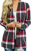 Long Sleeves T Shirt Womens Plaid Open Front Jacket Loose Casual Thin Fall Cardigans Sweater with Shawl Kimono Tops