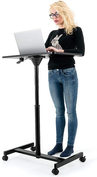 Tavolo per laptop regolabile in altezza con ruote comodo da usare 74-114 cm 12530