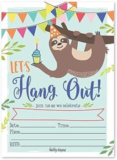 25 Sloth Kids Birthday or Slumber Party Invitations, Baby Shower Invite, Boy or Girl Sleepover Themed Celebration, Childre...