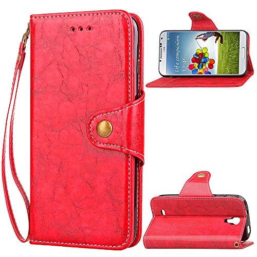 HUDDU Kompatibel mit Samsung Galaxy S4 Mini Hülle Leder Wallet Schutzhülle Kartenfach Vintage Handyhülle Brieftasche Filp Tasche Case Magnet Ständer Lederhülle Dünne mit Band Wristlet PU Etui Rot