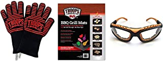 Deluxe 4-Piece BBQ Grilling Kit with Kevlar & Silicone Insulated Extreme Heat Grilling Gloves, Plus 2-Pack Non-Stick Grill Mats, Plus Orange Grilling Goggles!