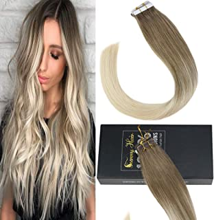 Sunny Human Hair Extensions 18 inch Balayage Tape in Human Hair Extensions Dip Dyed #14 Fading with #60 Blonde 100% Remy Hair Extensions 10 pcs 25G