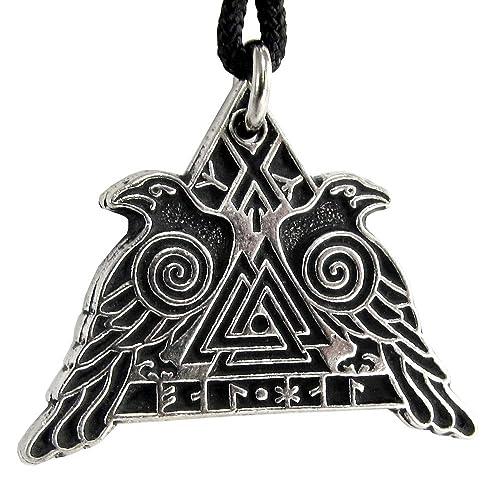 Valknut viking raven necklace Black Bird In Moon Crow Warrior Odin/'s pendant