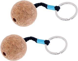 MonkeyJack (Pack of 2) Lightweight 35mm Floating Cork Keyring, Floatable Water Buoyant Key Ring, Marine Sailing Kayaking Boat Float Key Ring