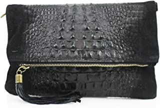 Womens Ladies Vera Pelle Real Leather Envelope Clutch Evening