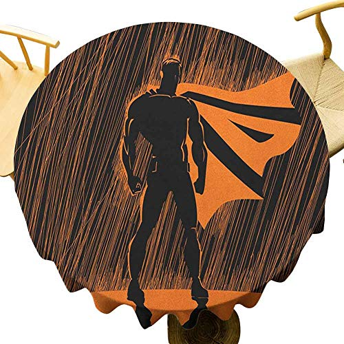 VICWOWONE - Mantel de superhroe impreso de 55 pulgadas con disfraz de hroe por la noche con superpoderes, estampado de hombre muscular, no se desvanecer naranja y negro