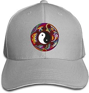 ONE-HEARTHR Adult Psychedelic Turtle Yin Yang Cotton Lightweight Adjustable Peaked Baseball Cap Sandwich Hat Men Women