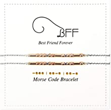 BFF Morese Code Bracelets Best Friend Friendship Gift For 2 Rose Golden Bead Silver String Women Girls