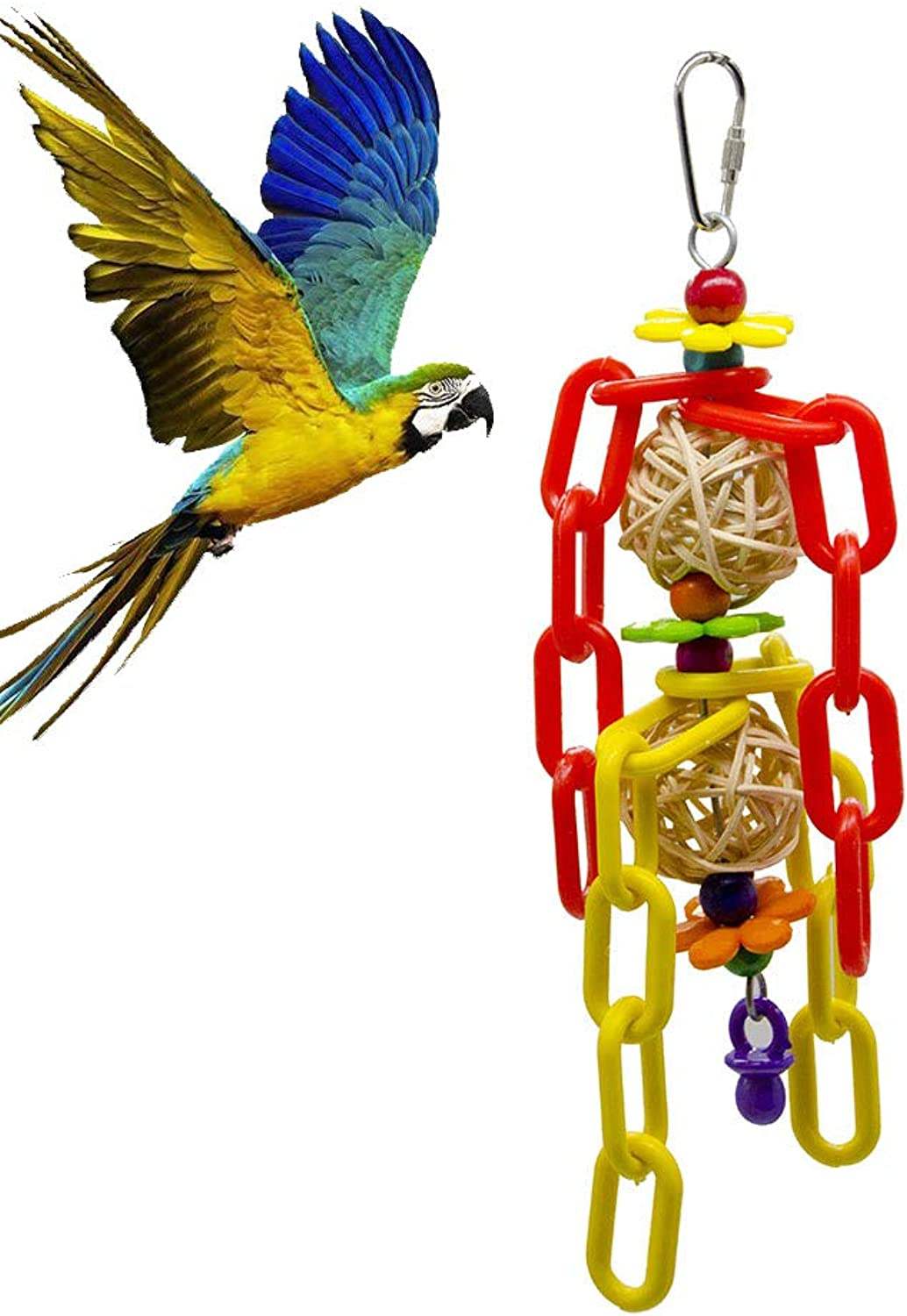 Bird Toy Parred Bite Rattan Ball Plastic Chain String Pet Supplies Bird Cage Toy Decoration Accessories