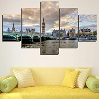 XIAOAGIAO 5 Canvas Wall Art Canvas Wall Art Picture Frame Kitchen Restaurant Decoration 5 Piece Bridge City Lscape Printing Poster Painting Prints On Canvas