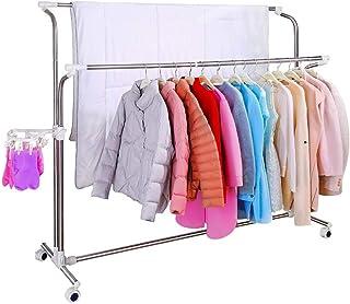 BAOYOUNI Heavy Duty Meubles vêtements vêtement Rack Extensible Rail réglable en Hauteur qualité Commerciale Roulant Linge ...