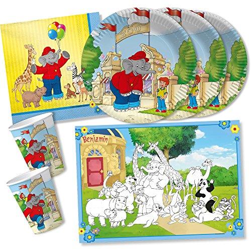 DH-Konzept 42-teiliges Party-Set - Elefant Benjamin Blümchen - Teller Becher Servietten Platzsets für 6 - 8 Kinder