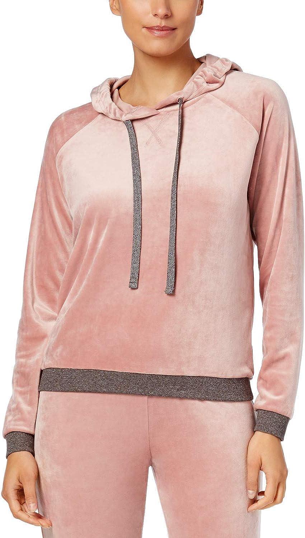 Alfani Velvet Hooded Pajama Top Women Rosy