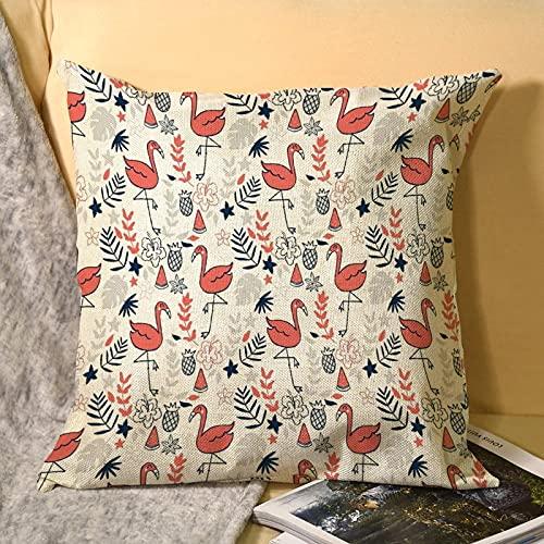 best & Fundas de almohada de lino con diseño de bailes de flamenco en coral para exteriores, banco, patio, almohada decorativa para decoración del hogar, lino para sofá, 45,7 x 45,7 cm