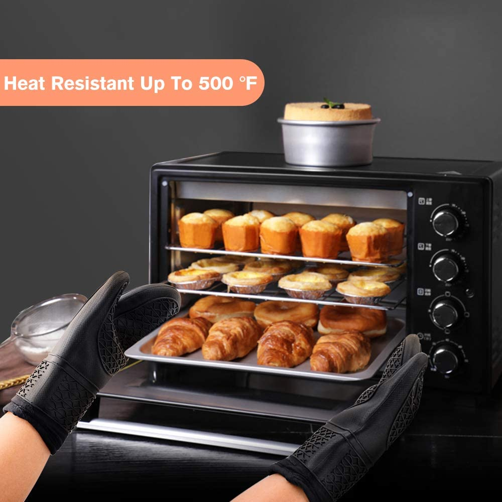 Rifny Ofenhandschuhe Schwarz Hitzebest/ä ndige Topfhandschuhe 1 Paar mit 2 Topflappen Silikon Anti-Rutsch Backhandschuhe f/ür Kochen Backen
