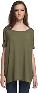 Piko Women's Famous Short Sleeve Bamboo Top Loose Fit, Olive