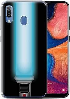 Phone Case for Samsung Galaxy A20/A30 2019 Lightsaber Laser Sword Jedi Padawan Blue Design Transparent Clear Ultra Soft Flexi Silicone Gel/TPU Bumper Cover