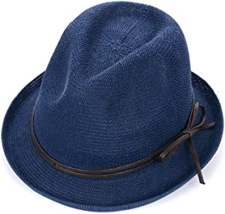 SHYPwM-Hats Straw Hat Hat Made of Straw Sun Hat in Summer Hat with A Wide Brim Foldable Straw Beach Hat Fishing Hat (Color : Blue, Size : 56-59CM)