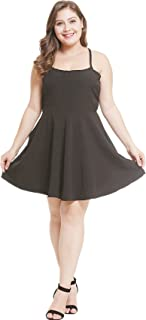 Arctic Cubic Sleeveless Spaghetti Strap Caged Cut Out Strappy Back Pleated Mini A-Line Dress Black