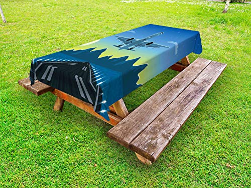 ABAKUHAUS Luchthaven Tafelkleed voor Buitengebruik, Landing Vliegtuig met Mountain, Decoratief Wasbaar Tafelkleed voor Picknicktafel, 58 x 84 cm, Veelkleurig