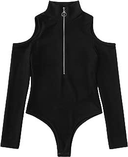Women's Elegant Zip Up Front Cold Shoulder Long Sleeve Knitted Bodysuit