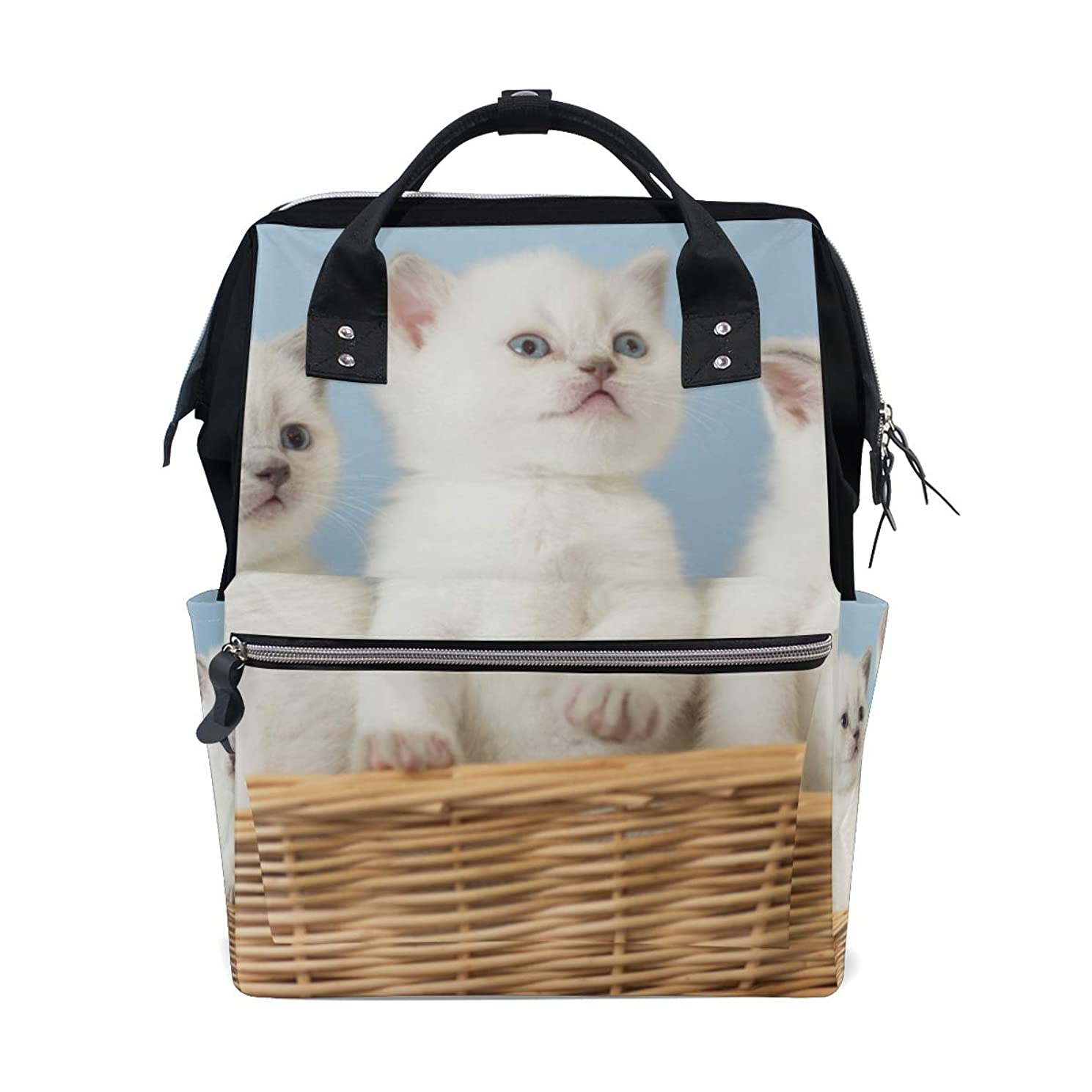 Three Cute Cats Basket School Backpack Large Capacity Mummy Bags Laptop Handbag Casual Travel Rucksack Satchel For Women Men Adult Teen Children
