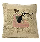 DaDa Bedding Throw Pillow Cover - Royal Dogs French Bulldog Beagle - Luxury Elegant Accent Square Colorful 1 Piece Tapestry Decorative Cushion Cover - 18