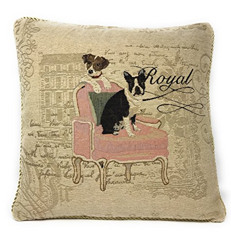 DaDa Bedding Throw Pillow Cover - Royal Dogs French Bulldog Beagle - Luxury Elegant Accent Square Colorful 1 Piece Tapestry Decorative Cushion Cover - 18' x 18'