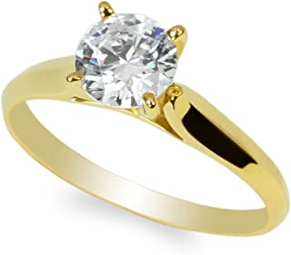 JamesJenny 10K Yellow Gold 1.0ct Round CZ Classic Solid Engagement & Wedding Solitaire Ring Size 4-10