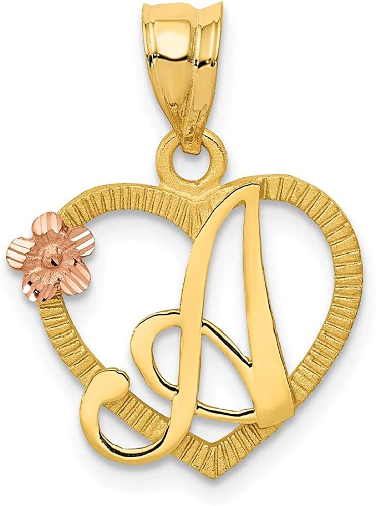14k Two Tone Yellow Gold Heart Letter A Initial Monogram Name Pendant Charm Necklace Love Fine Jewelry For Women Gifts For Her