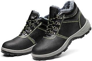 WggWy Chaussures à Bout en Acier Noir pour Hommes, Anti-Collision et Anti-Perforation Bottes de sécurité de Travail légère...