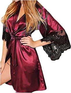 Women Sexy Silk Kimono Dressing Babydoll Lace Lingerie Belt Bath Robe  Valentine s Day Nightwear b331363ca