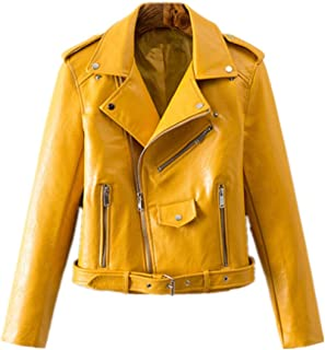 c19c10c82e585 Women s Trendy Stand Collar PU Leather Moto Jacket Leather Coat