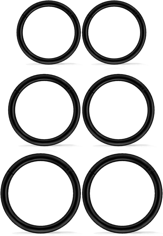 Xnsjeyy 3 Pairs 16G Stainless Steel Hinged Clicker Segment Septum Nose Lip Ring Hoop Cartilage Tragus Sleeper Earrings Body Piercing Jewelry 8mm 10mm 12mm Body Piercing Rings for Women Men