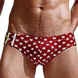 Topgrowth Costumi da Bagno da Uomo Slip Bikini Boxer da Bagno Surf Spiaggia Mare Pantaloncini Beachwear (Rosso, XL)