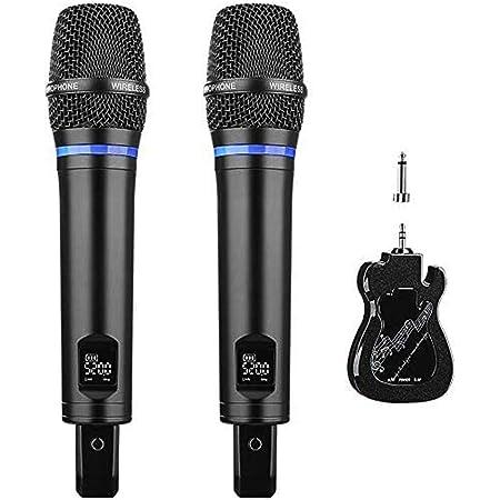 Micro Karaoké sans Fil Rechargeable, ARCHEER Métal Microphone sans Fil Double Professionel LED UHF Dynamique Portable avec Récepteur Bluetooth Rechargeable pour Chanter Fête Mariage Conférence