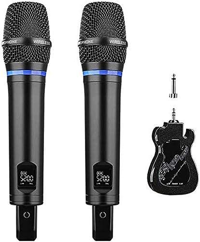 Micro Karaoké sans Fil Rechargeable, ARCHEER Métal Microphone sans Fil Double Professionel LED UHF Dynamique Portable...