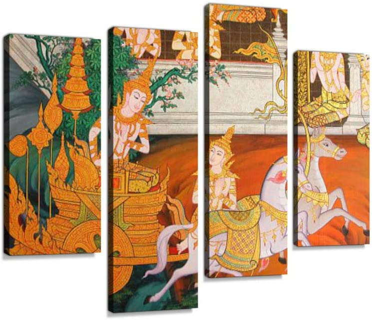 Masterpiece of Traditional Thai Style Painting Canvas Wall Art Hanging Paintings Modern Artwork Abstract Picture Prints Home Decoration Gift Unique Designed Framed 4 Panel