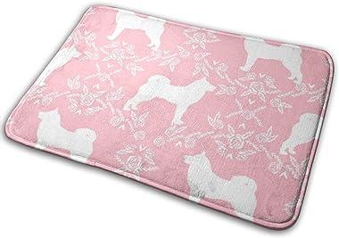 Akita Silhouette Florals Dog Pattern Pink_23581 Doormat Entrance Mat Floor Mat Rug Indoor/Outdoor/Front Door/Bathroom Mats Ru