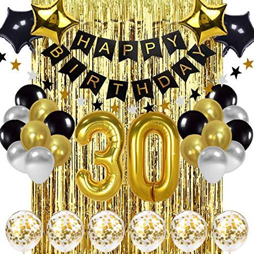 Globos de decoración de cumpleaños 30 en color negro y dorado, 30 años de antigüedad para decoración de cumpleaños