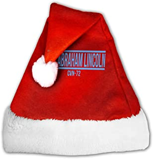 TCCZQ USS Abraham Lincoln CVN-72 Unisex Velvet Fabric Santa Hat Party Accessory Christmas Holiday Hat