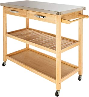 Best small bamboo stainless steel top kitchen cart Reviews