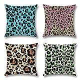 Artscope - Juego de 4 fundas de almohada decorativas de 45 x 45 cm, de algodón y lino, para sofá, coche, dormitorio, hogar, leopardo, 45 x 45 cm