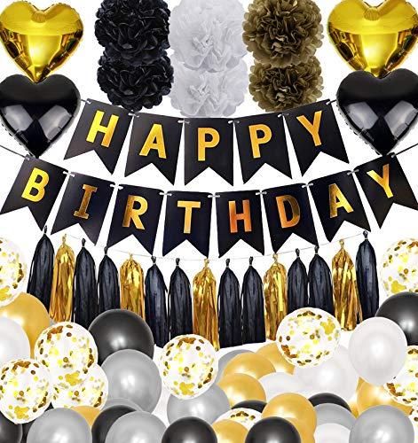 88 piezas de decoraciones de fiesta de cumpleaños, SZHTFX decoraciones de fiesta suministros para hombres y mujeres, banderines con 50 globos, 6 pompones de papel, 15 borlas, 4 globos de confeti