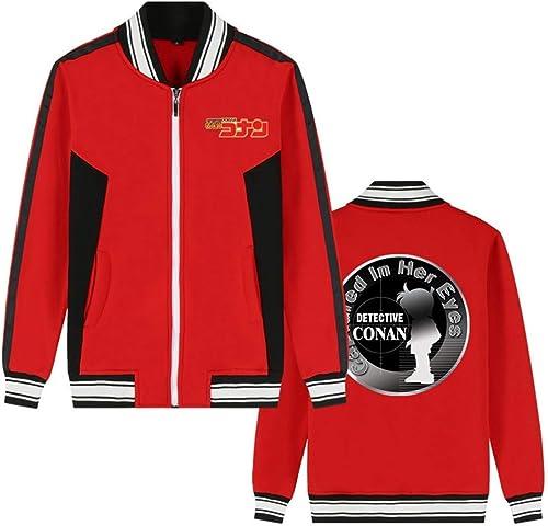 Détective Conan Anime Bomber Veste Collège Baseball Vestes Cosplay Costume Fermeture à Glissière Sweat Manteau voituredigan (Couleur   rouge 4, Taille   3XL)