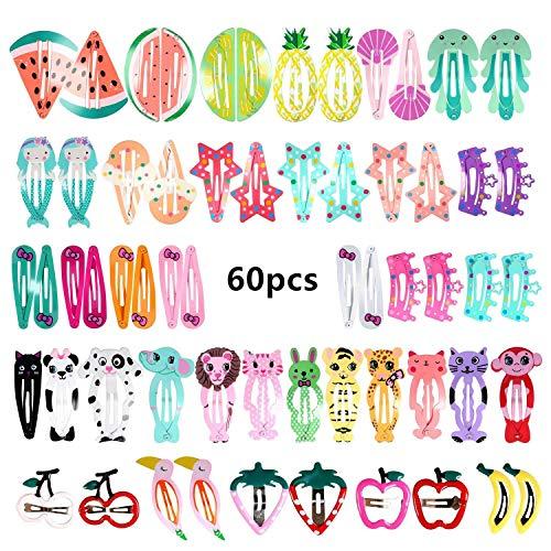 VOARGE 60 Stück Haarspangen Mädchen Haarspangen, Karikatur Entwurfs Obst und Tiere Metalldruck Haarklammern für Mädchen Kinder (Zufälliger Stil)