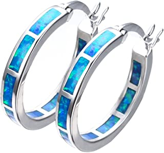 Blaike 925 Sterling Silver Hoop Earring, Opal Small Hoop Earring for Women, Hypoallergenic Jewelry Cubic Zirconia Huggie Hoop Earrings Blue and White