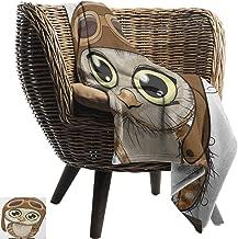 Alexandear Owls,Throw Blanket,Owl in Pilot Hat Big Eyes Caricature Characters Wildlife Humor Comic Artistic 70