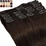 Extension a Clip Cheveux Naturel MAXI VOLUME Rajout 8 Bandes - Double Weft Clip in Remy Human Hair Extensions (#02 Chocolat foncé, 40cm-130g)